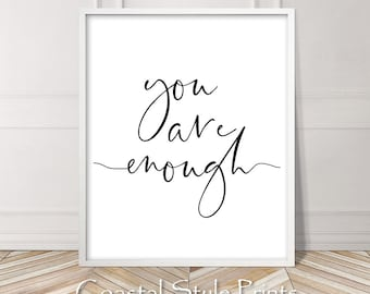 You Are Enough Print, Girls Print, Gift For Teens Wall Art, Inspirational  Quote, Yoga Print,Teen Wall Decor, Downloadable Quote Print