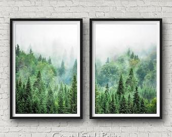 Set Of 2 Forest Prints, Scandinavian Wall Art, Forest Photography, Canadian, Forest Art Print, Landscape Photography, Prints, Forest Print