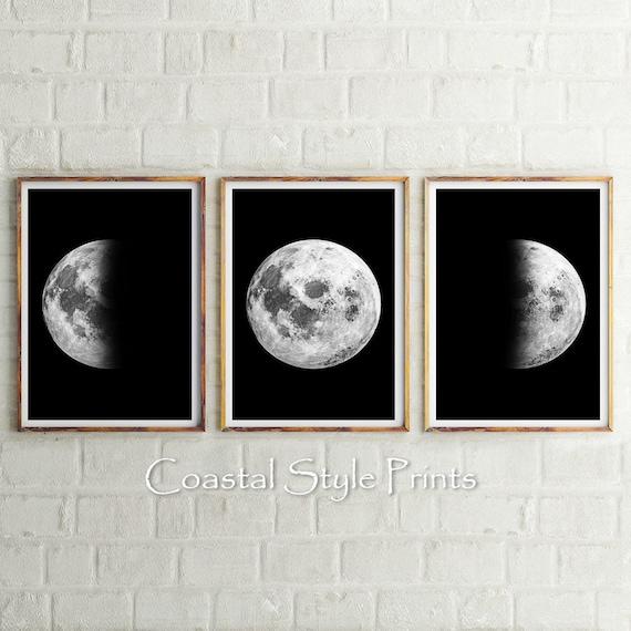 Large Moon Phases Set Black and White Celestial Art Moon Wall Art