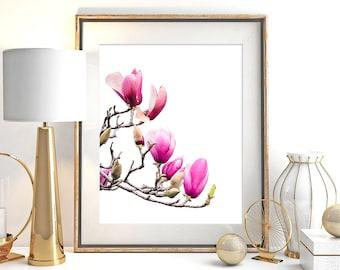 Crimson Magnolia, Magnolia Print, Wall Art, Botanical Art, Modern Wall Decor, Floral Print, Large Poster, Flower, Magnolia Photography, #110