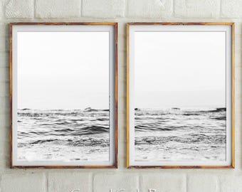Set Of 2 Beach Prints, Black and White Prints, Beach Print, Ocean Print, Beach Wall Decor, Wall Art, Prints, Coastal Wall Art, Ocean Waves