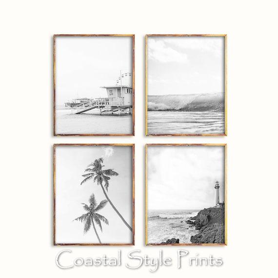 d2b98cd0a1c Set O 4 Black and White Coastal PrintsBeach Wall ArtBeach