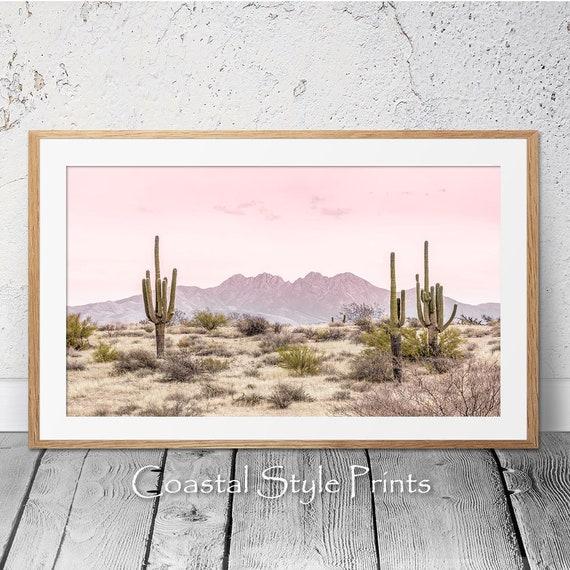 Cactus Wall Art Desert Wall Art Summer Wall Art National Park Oasis Super Pink Moon in Joshua Tree Art Print California Art Print