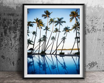 Palm Trees Print, Tropical Print, Ocean Print, Palm Print, Coastal Art, Beach Wall Art, Palm Photography, Beach Print, Sea Blue Print, 121