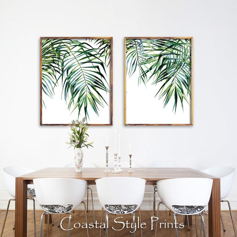 set of 2 tropical printswall decortropical printleaf etsy