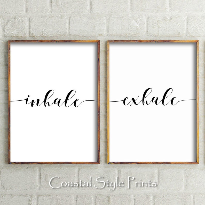 Inhale Exhale Quote Print Bedroom Print Set Of 2 Typography Inhale Exhale Print Home Decor Yoga Wall Art Poster Inhale Exhale Wall Decor
