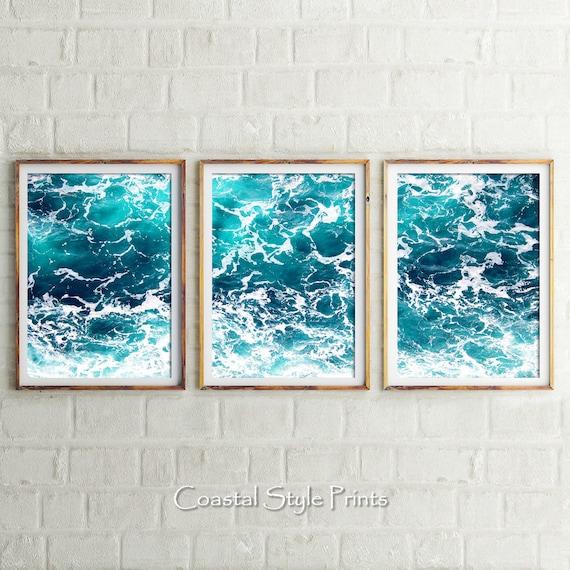Set Of 3 Ocean Art Prints Digital Prints Coastal Wall Art | Etsy