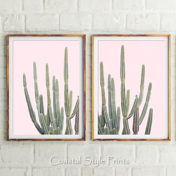 Pink Cactus Prints Wall Decor Prints Succulents Nursery | Etsy
