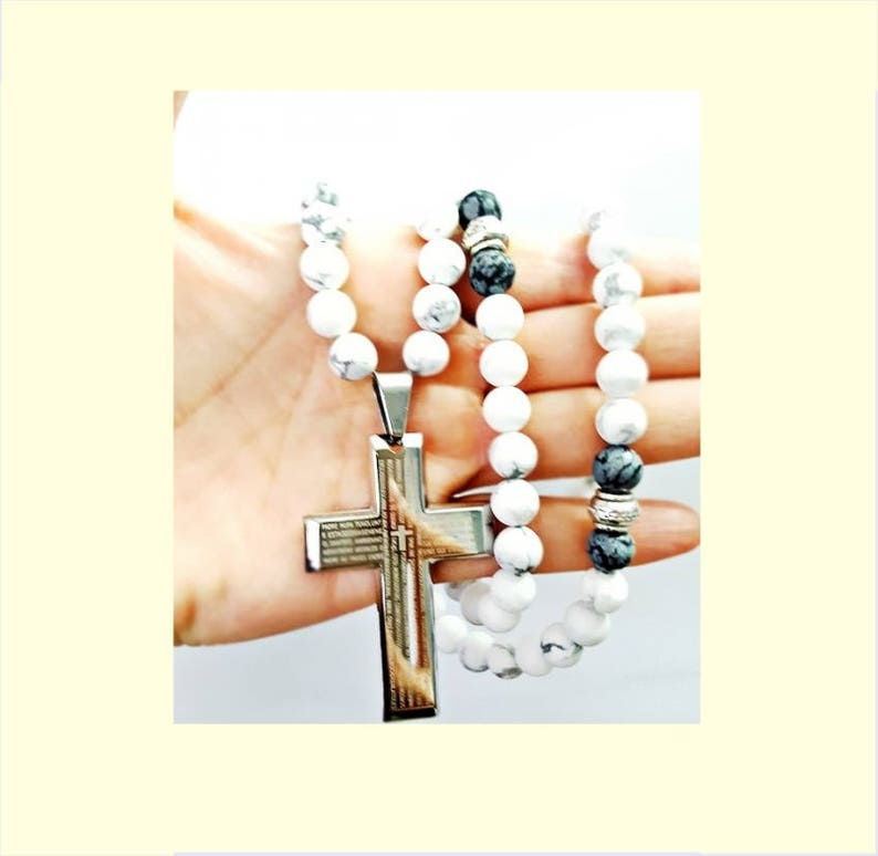 Beaded Necklace Cross Mens Cross Jewelry,Obsidian Jewelry Mens Gift for Him,8mm Stone Necklace Mens Hawlite Necklace Necklace for Men