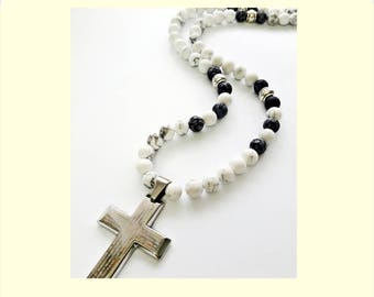 Mens Hawlite Necklace, Necklace for Men, Gift for Him,8mm Stone Necklace, Mens Cross Jewelry,Obsidian Jewelry Mens,  Beaded Necklace Cross