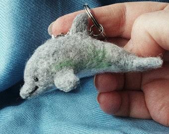 Dolphin keychain accessory. Needle felted dolphin, Bag charm, dolphins