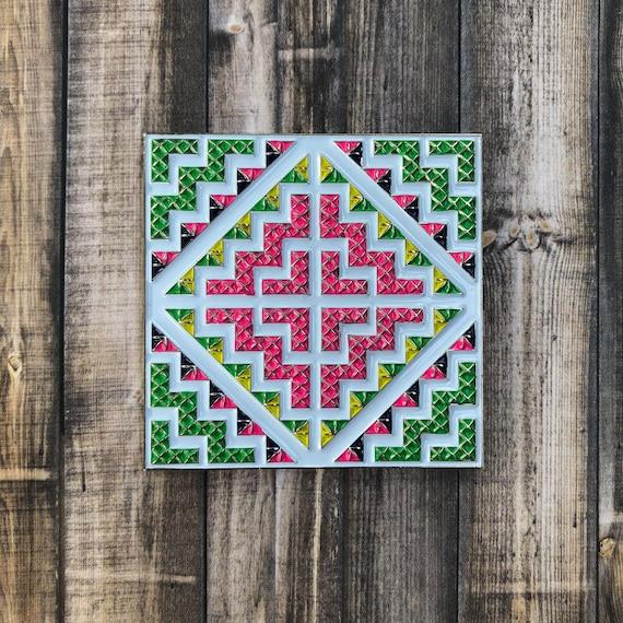 """Hmong Cross Stitch """"Paj Ntaub"""" Magnet by Etsy"""