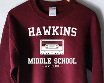 Hawkins Middle School AV Club Sweatshirt - Stranger Things Shirt - Stranger Things Tee - Jumper - Eleven Hopper - KU562M