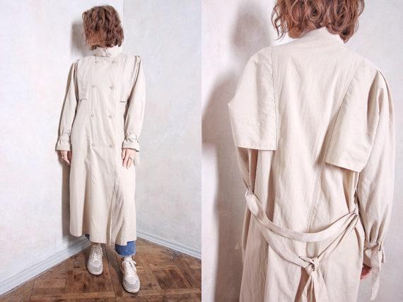 Beige long trench coat   80s coat   pleated coat  