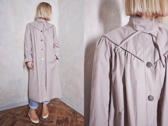 80s vintage trench coat   long coat   gray coat  