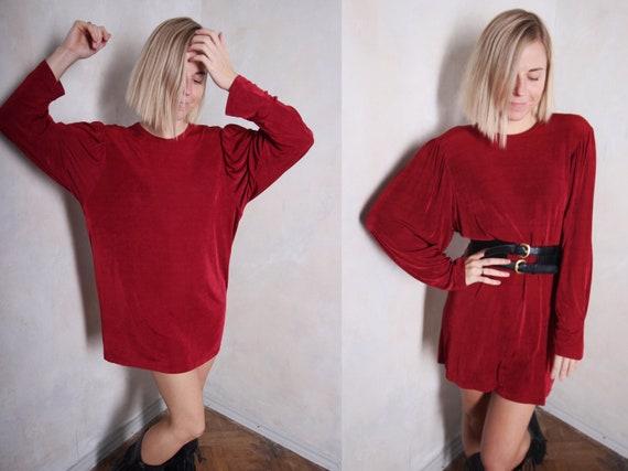 Red vintage 80s mini dress | long sleeve dress | o