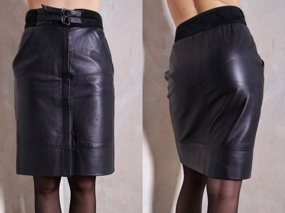 Black leather pencil skirt | 80s skirt | genuine l