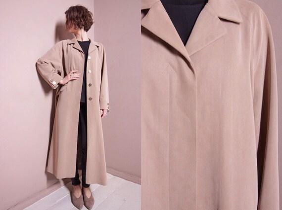 Long vintage coat   80s coat   beige coat   women
