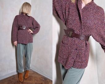 Purple vintage cardigan   boho cardigan   60s cardigan   chunky cardigan   wool cardigan   retro cardigan   spring cardigan   long cardigan
