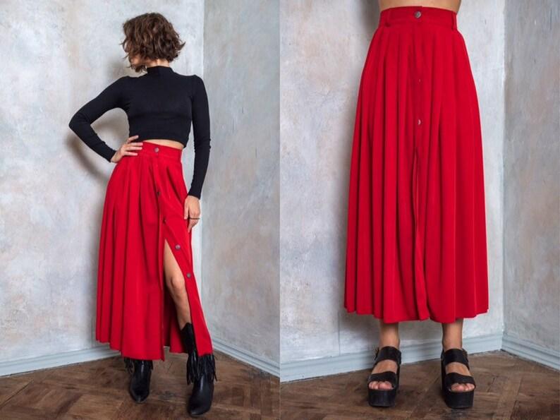 43aa0f52ad237a Lange vintage rok rode pleated skirt Viscose rok herfst