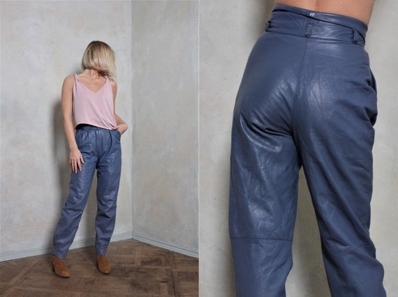 Leather vintage pants | blue pants | high waisted