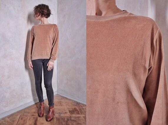 Velour vintage sweater | velvet sweater | velour t