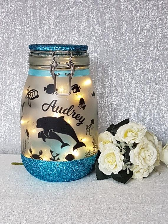 Light up Jar Fairy in a jar Fairy Jar Glitter Jar Gingerbread Man // house
