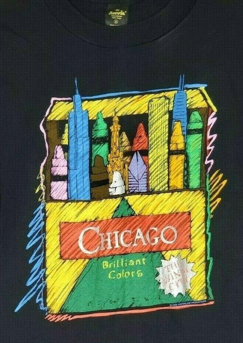 Vtg Chicago Brilliant Colors Windy City 1989 Winterland Single TShirt Anvil