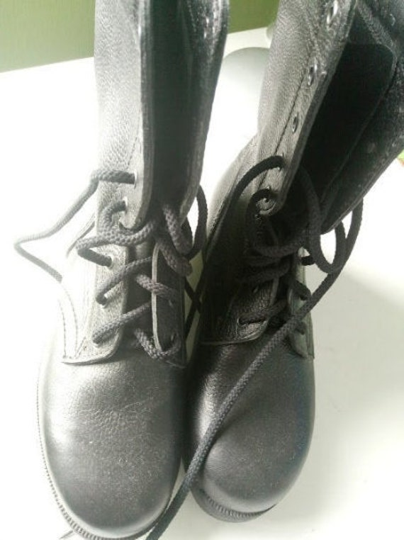 Military Boots Mens Black Leather Boots  Army Mili