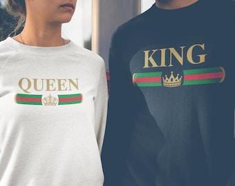 0c59f4379cdb Reine roi pulls d entraînement, la famille vêtements assortis, cadeaux  uniques pour Couples Sweatshirt, roi et reine de Saint-Valentin