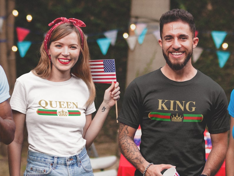 8267867b8b King Queen Tshirts King and Queen Couple T shirts Matching   Etsy