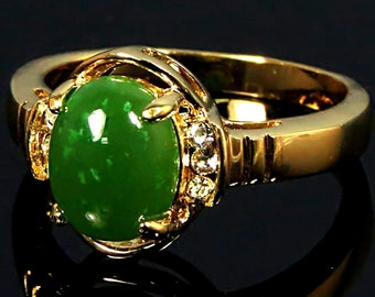 Green Jade Ring, Jade Stone Ring, Oval Jade Ring, Jade Ring For Women, Gold Jade Ring, Jade Gemstone Ring, Engagement Ring, Real Jade Ring