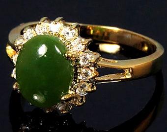 Gold Jade Ring, Real Jade Ring, Jade Ring Women, Green Jade Ring, Jade Stone Ring, Jade Engagement Ring, Oval Jade Ring, Green Stone Ring