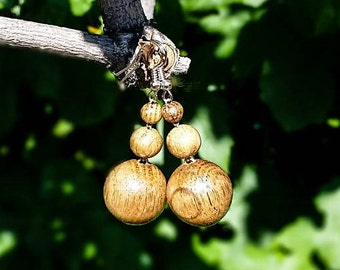 Wood Earrings, Round Beads Wood Earrings, Brown Earrings, Earrings for Women,  Wooden Jewelry
