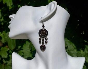 Wood Earrings, Boho Style Earrings, Chandelier Earrings for Women, Bohemian Earrings