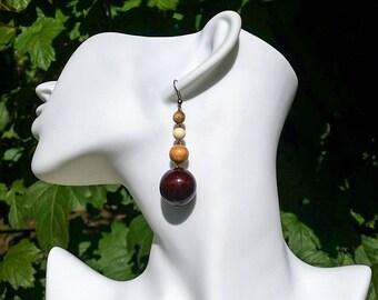 Round Beads Wood Earrings, Wood Earrings, Earrings for Women,  Wooden Jewelry