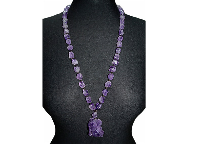Amethyst Necklace Pendant Raw Natural Amethyst Necklace Amethyst Crystal Necklace Amethyst Birthstone Necklace