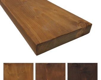 Rustic solid wood wall shelf - 19 cm deep / 3.5 cm thick / bookcase / kitchen shelf / different Colours and sizes