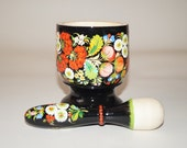 Mortar and pestle Hand painted Mortar pestle Farmhouse decor Wood and florals Medical pharmacist Mom grandmother Wood hand mixer Home remedy