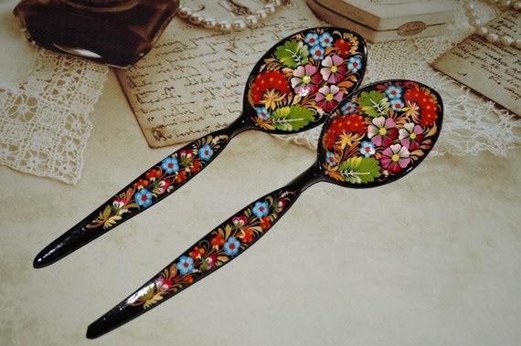 Wooden spoon Decorative spoons Painted spoon Carved spoon Hand carved spoon Wooden gift Spoons Hand painted wood Folk Art Painting