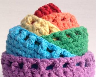 Nesting bowls, rainbow home decor, rainbow crochet stacking bowls, bright coloured crochet structured bowls, rainbow nesting baskets