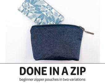 006d8291d Done In A Zip - PDF Sewing Pattern - Zipper Pouches - Zipper Pouch Pattern  - Beginner Zipper Pouch Pattern