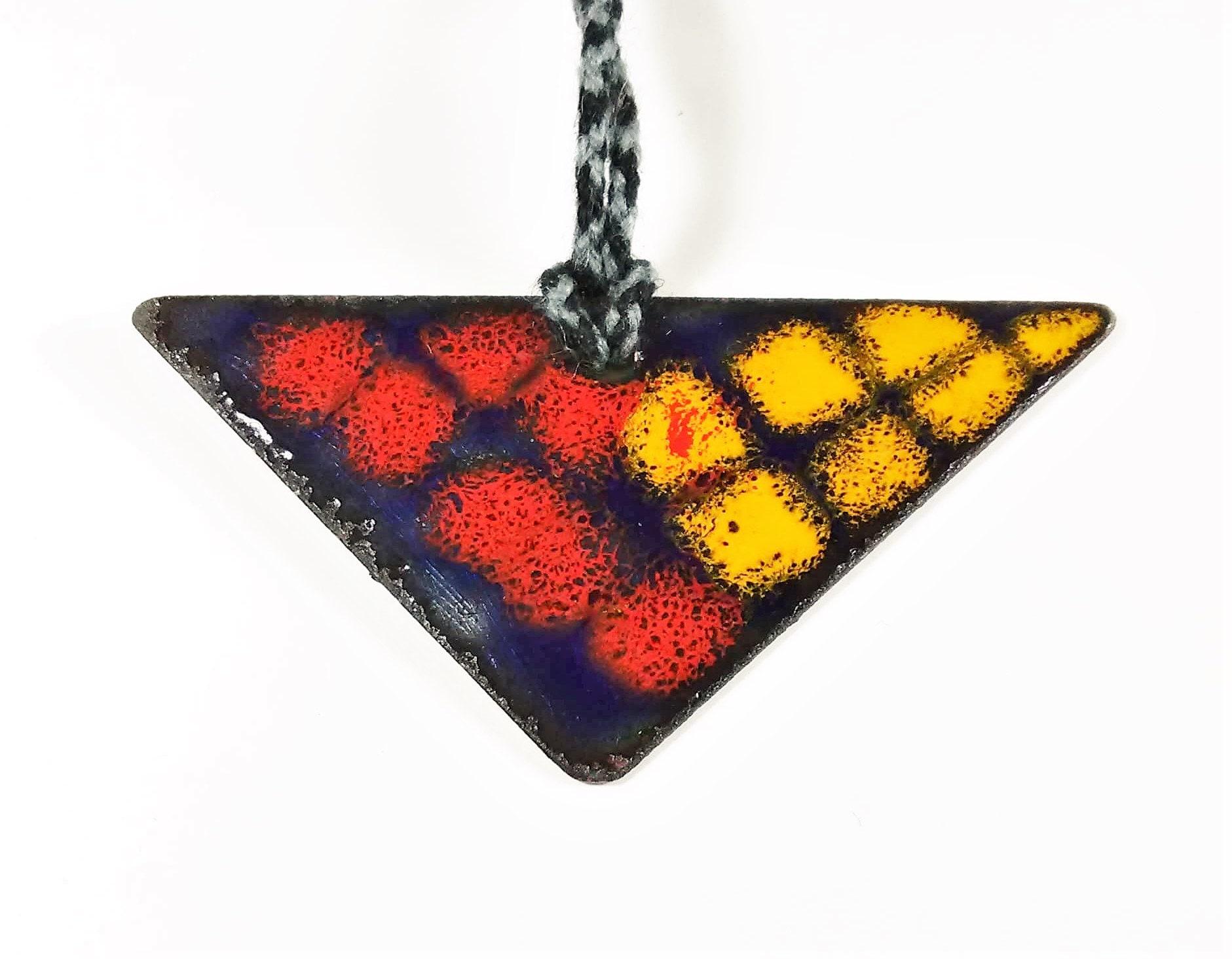 enamelled murano glass earrings on copper sun glass earrings Sunset Glass earrings and yellow orange enamels
