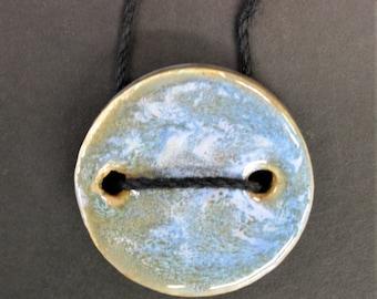 Ceramic Pendant - Handmade Ceramic Jewelry - Glazed Ceramics - Hemp Cord