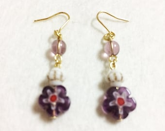 wholesome French flower earrings: purple