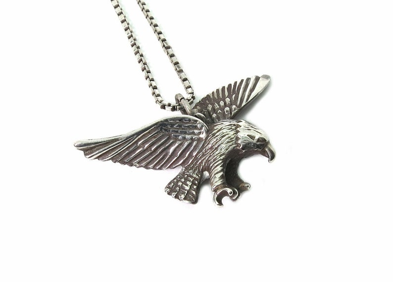 vintage necklace-sterling silver-eagle pendant-approx image 0