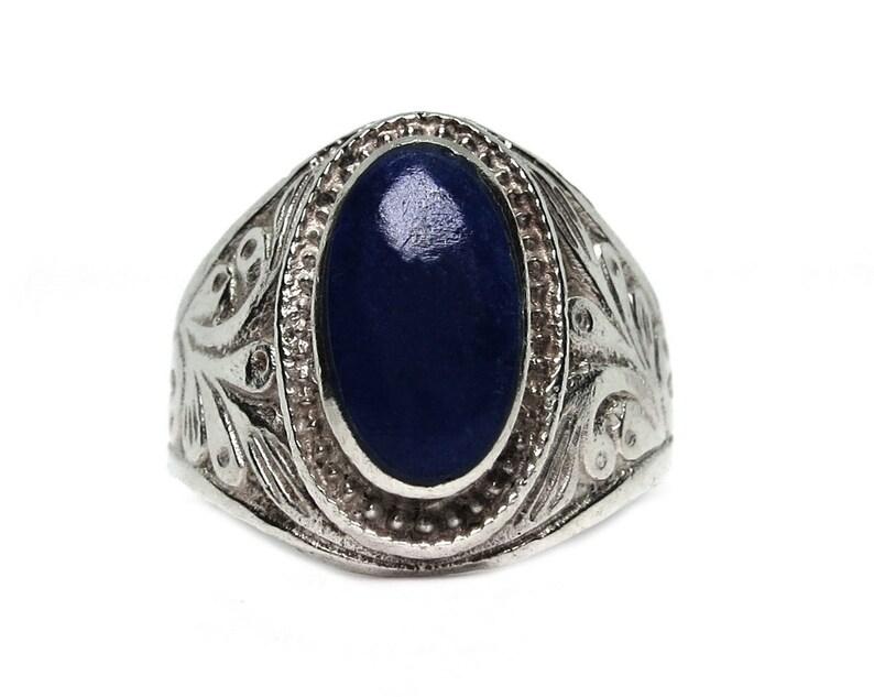 huge Art Nouveau-blue Lapis lazuli gemstone-sterling image 0