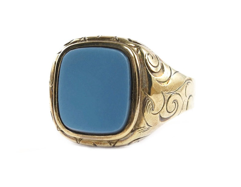 Rare Art Déco-8k gold-blue/grey agate-cameo gemstone-signet image 0