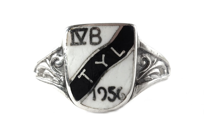 signet ring-sterling silver-black and white coloured-symbol-IV image 0