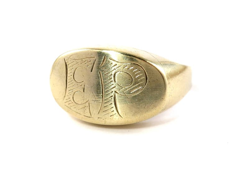 8k gold-Signet ring-Art Déco-Initials EPapprox 1938-size 11 image 0